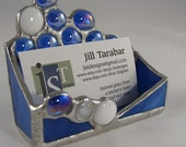 Hand Crafted Stained Glass Business Card Holder - Cobalt Blue with blue and white Nuggets