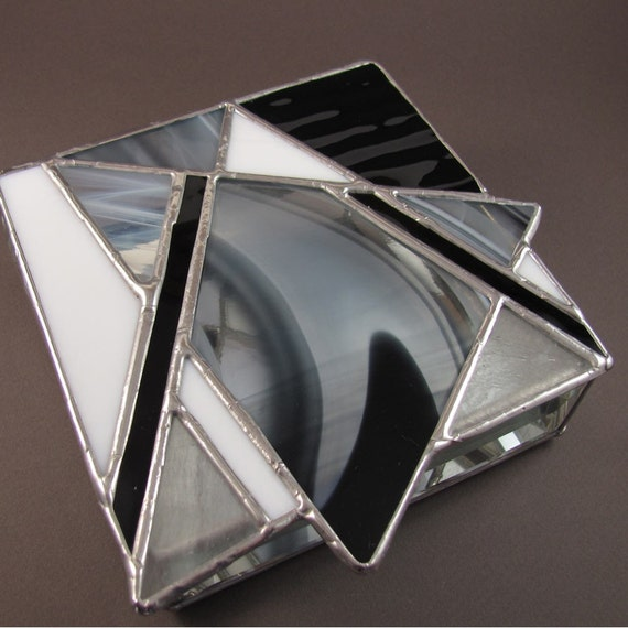 Black and White Hand Crafted Stained Glass Box with Abstract Star
