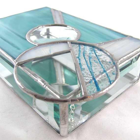 Turquoise, White and Bevel Hand Crafted Stained Glass Jewelry Box