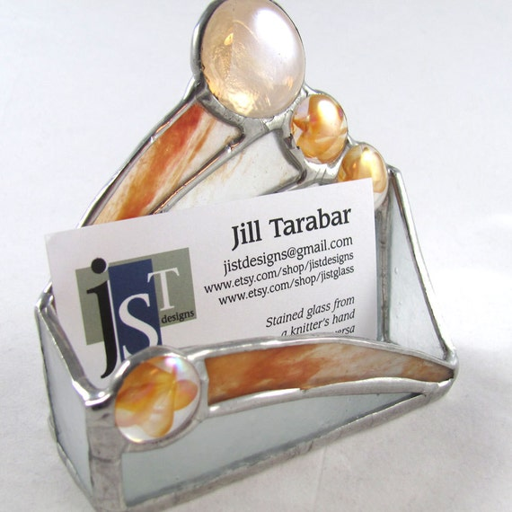 Tangerine Orange and White Stained Glass Business Card Holder