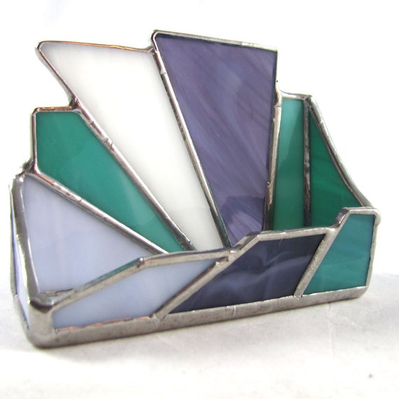 Lavender, Grape, Teal and White Hand Crafted Stained Glass Business Card Holder