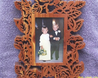 Scrolled rose petal picture frame  F-0011