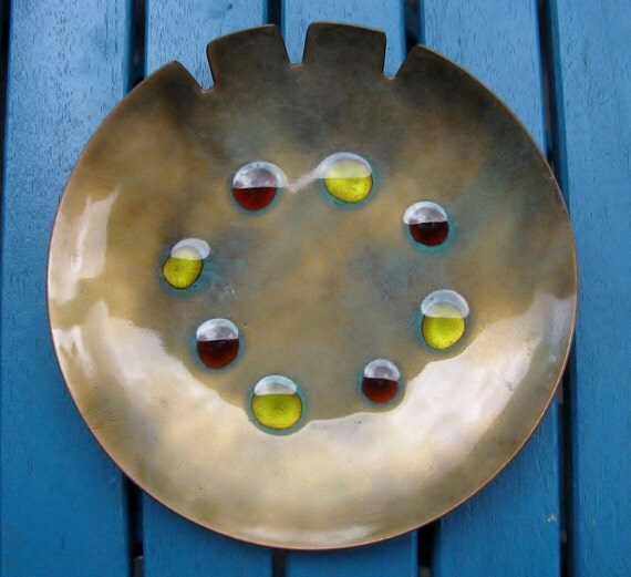 MOVING SALE - Mid- Century Copper and Enamel Ashtray by Bovano