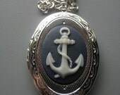 SALE Anchor Cameo Locket Silver - Nautical Jewelry