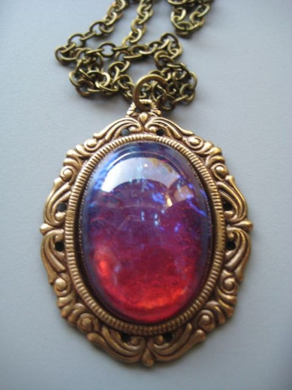Cameo Necklace - Stunning Glass Opal - Dragon's Breath