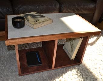 Coffee Table, Concrete Table, Concrete Mahogany Coffee Table, Cocrete Furniture, Concrete Tables, Mahogany Table