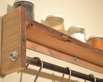 Pot Rack Wall Shelf Spice Rack, Towel Rack, Reclaimed Wood Kitchen Shelf, Shelf, Pot Rack- Free Shipping