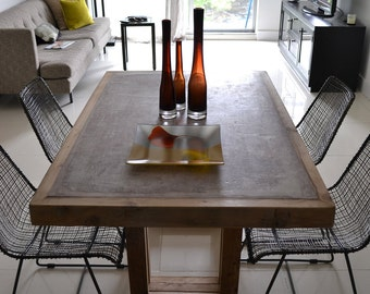 Concrete Dining Table, Concrete and Reclaimed Wood Table, Reclaimed Wood Table, Concrete Table, Concrete Furniture Reclaimed Wood Furniture