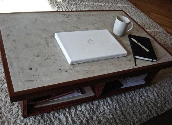 Coffee Table, Concrete Mahogany Coffee Table- Free Shipping