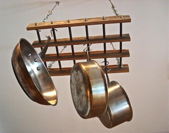 Pot rack reclaimed wood pot rack free shipping for Reclaimed wood pot rack
