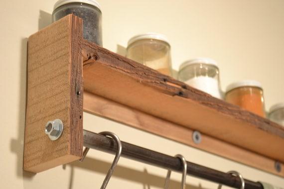 Pot Rack Wall Shelf Spice Rack, Reclaimed Wood Pot Rack- Free Shipping