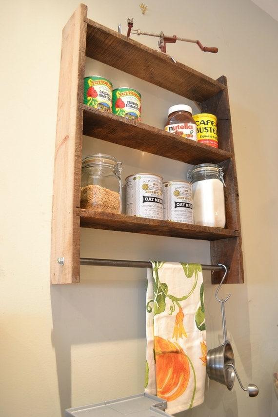 Pot Rack, Wall Shelf Spice Rack Pot Rack Reclaimed Wood, Reclaimed Wood Kitchen, Pot Rack- Free Shipping