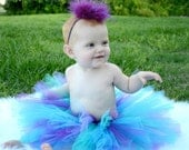 Teals and Deep Purple Tutu Set -  Tutu and matching maribou-Flower Girl outfit,  Perfect for birthdays and special occasions