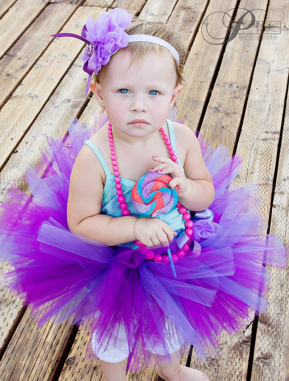 Purple and Blues Tutu Set -  Tutu and matching bow-Flower Girl outfit,  Perfect for birthdays and special occasions