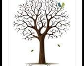 Wedding Print Guestbook Signature Tree Alternative Poster Print 17 x 22 Large up to 170 fingerprints. Choose font & color