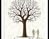 Personalized Silhouette Wedding Guestbook Signature Tree Wall Art Print  17 x 22 Large up to 170 fingerprints. Choose font & silhouette