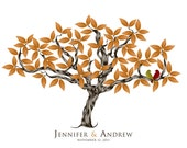 Wedding Signature Tree Anniversary Gift  100 Leaves  PRINTABLE FILE DOWNLOAD Choose your custom color and font