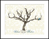 Alternative Custom Wedding Guest Book Idea Signature Tree fingerprint poster with Love Birds 17 x 22 Choose your font and color