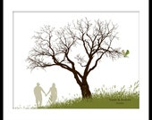 Custom Wedding Signature Guest Book Tree Print Art 13 x 19 Medium up to 80 fingerprints. Choose font, color & silhouette