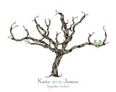 Simple Classy  Wedding Finger print Guestbook Tree Print Poster with Love Birds 13 x 19 (110 prints approx) Choose your font and colors