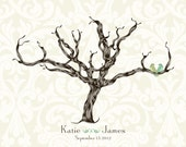 Wedding Signature Fingerprint Tree  Damask Poster Printable FILE Small Medium Large Choose your colors and font style