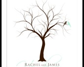 Wedding Tree  Guest Book Poster Print 13 x 19 Large up to 100 fingerprints. Choose font and color