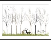 Spring Wedding Tree Guest Book Fingerprint Signature Poster with Deer up to 180 thumb prints. Custom colors and fonts