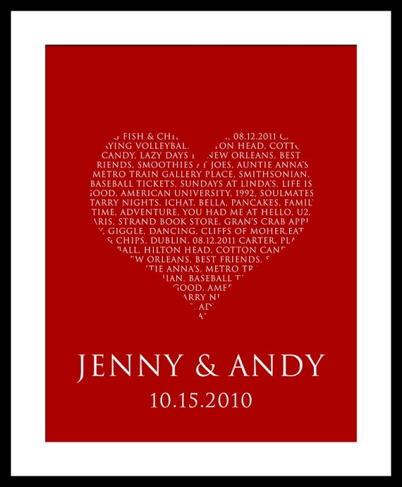 Personalized WORDS LOVE Heart Wedding Aniiversary Gift Printable 11x 14 File CHOOSE your Words, Color, Font