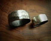 Reserved For Nick- Couple's Ring Set w/ Secret Messages- Bold & Wide Unisex Band -Textured Silver