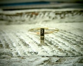 Recycled 14K Gold or Silver Custom Initial Ring - Rectangle Bar Stacking Ring By Pale Fish NY