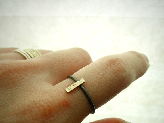 14K Recycled Gold and Silver Custom Initial Ring - Rectangle Bar Stacking Ring By Pale Fish NY, R046