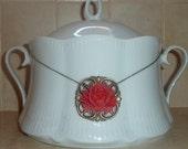 Red Rose big flower Bronze Brass necklace