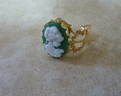 Gold ring, Green victorian lady resin, adjustable ring.