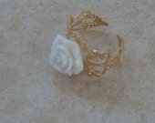 Gold adjustable ring, White resin rose