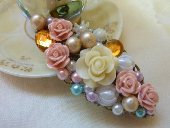 Bronze 80mm hair clip, flowers, pearl like beads,rhinestones, hand made, sweet and lovely.