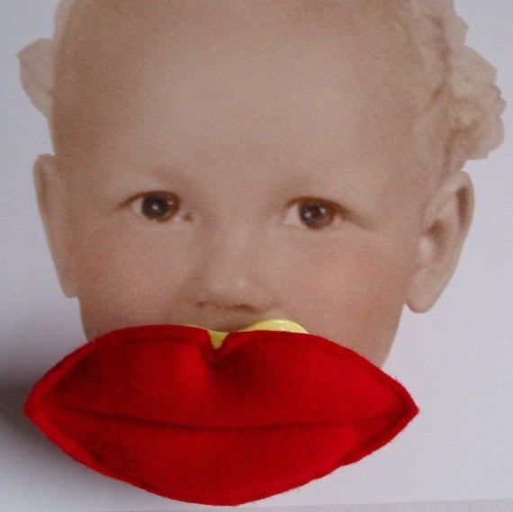 Red Felt Kissing Lips Pacifier