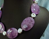 Amethyst  and Hammered Sterling Statement Necklace