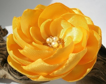 Yellow bridal wedding flower pin or hair clip