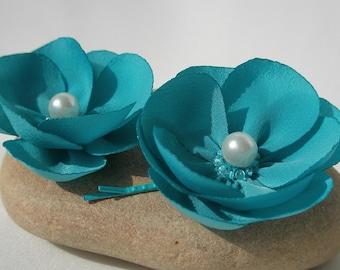 Two smoky blue flower daisy hair clip set