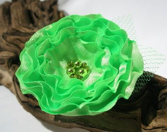 Lime Green Cabbage Flower Pin Or Hair Clip, Bridal Sash