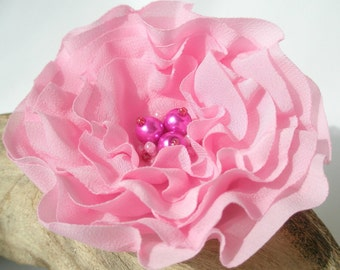 Pale Pink Flower Pin Or Hair Clip