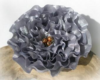 Elegant Silver Gray Flower Pin Or Hair Clip