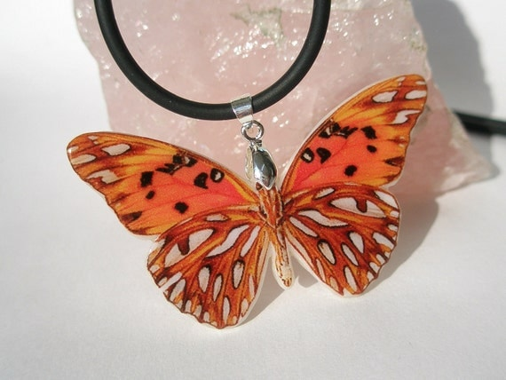 Dark Orange Butterfly Polymer Clay Necklace