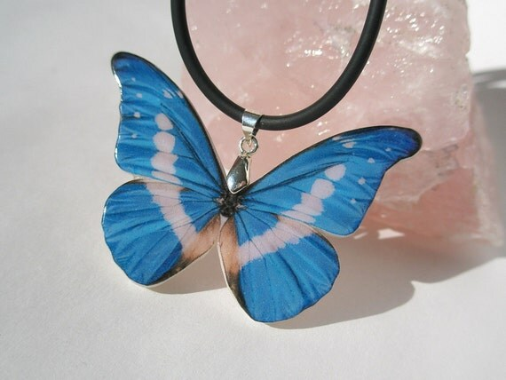 Blue White Butterfly Polymer Clay Necklace
