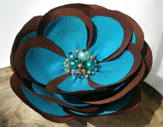 Chocolate Brown And Turquoise Flower Hair Pin, Clip Or Brooch