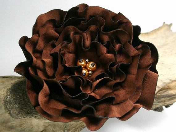 Brown Chocolate Flower Pin Or Hair Clip