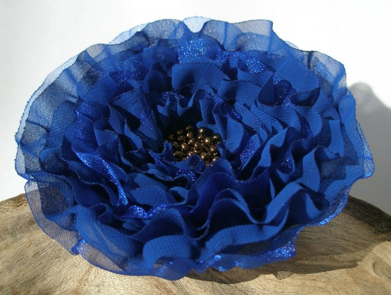 Cobalt  Blue Flower Pin, Hair Clip,Sash or Brooch