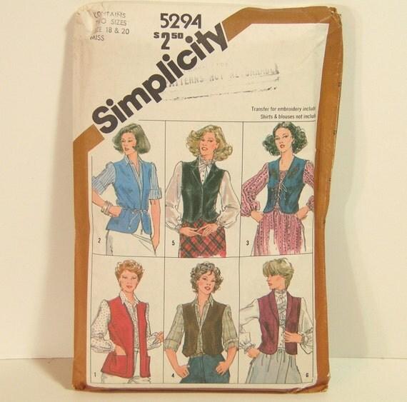 Simplicity Vest Pattern Plus Size