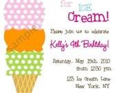 Printable Photo Birthday Party Invitation - Ice Cream , Sweet , popsicle Boy Girl Baby Shower