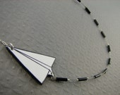 Paper Airplane Necklace with trail - Hand Drawn Details